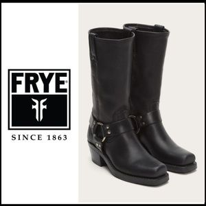 FRYE Harness Mid Calf 12R Black Leather Boot 6.5M